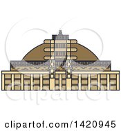 Clipart Of A India Landmark Buddhist Great Stupa Royalty Free Vector Illustration by Vector Tradition SM