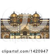 Clipart Of A India Landmark Amer Fort Royalty Free Vector Illustration by Vector Tradition SM