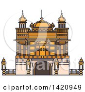 Clipart Of A India Landmark Sikh Golden Temple Royalty Free Vector Illustration by Vector Tradition SM