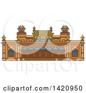 Clipart Of A India Landmark Royal Palace Chowmahalla Royalty Free Vector Illustration