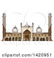Clipart Of A India Landmark Islamic Mosque Jama Masjid Royalty Free Vector Illustration by Vector Tradition SM