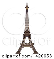 Clipart Of A French Landmark The Eiffel Tower Royalty Free Vector Illustration