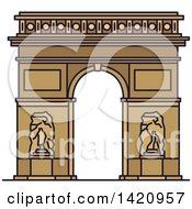 Clipart Of A French Landmark Triumphal Arch Of The Star Royalty Free Vector Illustration