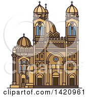 Clipart Of A French Landmark Cathedral Of Saint Mary Major Royalty Free Vector Illustration by Vector Tradition SM