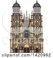 Clipart Of A French Landmark Cathedral Of Saint Andrew Royalty Free Vector Illustration by Vector Tradition SM