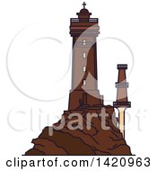 Clipart Of A French Landmark La Vieille Lighthouse Royalty Free Vector Illustration by Vector Tradition SM