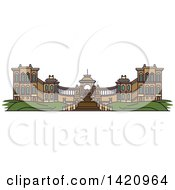 Clipart Of A French Landmark Palais Longchamp Royalty Free Vector Illustration by Vector Tradition SM