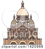 Clipart Of A French Landmark Basilica Of The Sacred Heart Royalty Free Vector Illustration by Vector Tradition SM