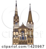 Clipart Of A French Landmark Chartres Cathedral Royalty Free Vector Illustration by Vector Tradition SM