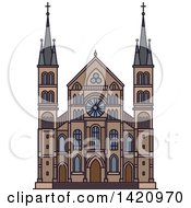 Clipart Of A French Landmark Abbey Of Saint Remi Royalty Free Vector Illustration by Vector Tradition SM