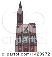 Clipart Of A French Landmark Rouen Cathedral Royalty Free Vector Illustration by Vector Tradition SM