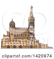 Clipart Of A French Landmark Basilica Notre Dame De La Garde Royalty Free Vector Illustration by Vector Tradition SM