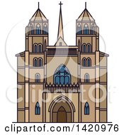 Clipart Of A French Landmark Dijon Cathedral Royalty Free Vector Illustration by Vector Tradition SM