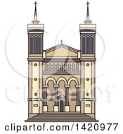 Clipart Of A French Landmark Basilique De Fourviere Royalty Free Vector Illustration by Vector Tradition SM