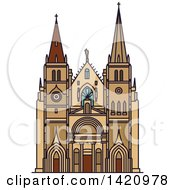 Clipart Of A French Landmark Church Of Saint Nizier Royalty Free Vector Illustration by Vector Tradition SM