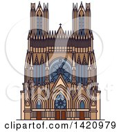 Clipart Of A French Landmark Reims Cathedral Royalty Free Vector Illustration by Vector Tradition SM