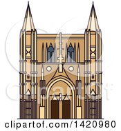 Clipart Of A French Landmark Basilica Of Saint Denis Royalty Free Vector Illustration by Vector Tradition SM