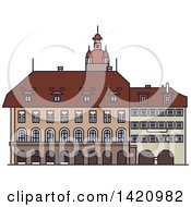 Clipart Of A Switzerland Landmark Lucerne Town Hall Royalty Free Vector Illustration