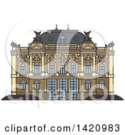 Clipart Of A Switzerland Landmark Zurich Opera House Royalty Free Vector Illustration
