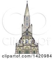 Clipart Of A Switzerland Landmark Bern Minster Royalty Free Vector Illustration