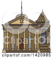 Clipart Of A Switzerland Landmark St Pierre Cathedral Royalty Free Vector Illustration