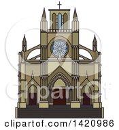 Clipart Of A Switzerland Landmark Notre Dame Basilica Royalty Free Vector Illustration