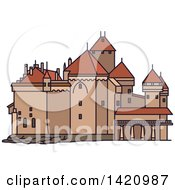 Clipart Of A Switzerland Landmark Chillon Castle Royalty Free Vector Illustration by Vector Tradition SM