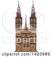 Clipart Of A Switzerland Landmark Grossmunster Royalty Free Vector Illustration