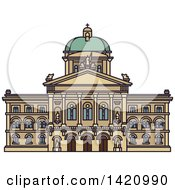 Clipart Of A Switzerland Landmark Federal Palace Royalty Free Vector Illustration