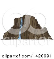 Clipart Of A Africa Landmark Tugela Waterfall Royalty Free Vector Illustration