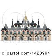 Clipart Of A Thailand Landmark Ratchanadda Royalty Free Vector Illustration