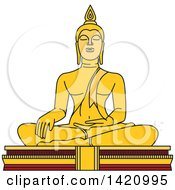 Clipart Of A Thailand Landmark Buddha Royalty Free Vector Illustration