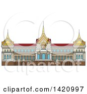 Clipart Of A Thailand Landmark Royal Palace Royalty Free Vector Illustration