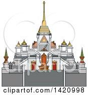 Clipart Of A Thailand Landmark Traimit Royalty Free Vector Illustration