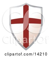 Metal Shield With A Cross Clipart Illustration