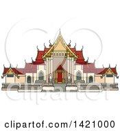 Clipart Of A Thailand Landmark Benchamabophit Royalty Free Vector Illustration