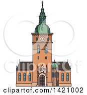 Clipart Of A Norway Landmark Oslo Cathedral Royalty Free Vector Illustration