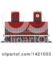 Clipart Of A Norway Landmark Radhus Royalty Free Vector Illustration
