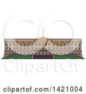 Clipart Of A Norway Landmark Royal Palace Royalty Free Vector Illustration