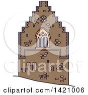 Clipart Of A Norway Landmark Hakons Hall Royalty Free Vector Illustration