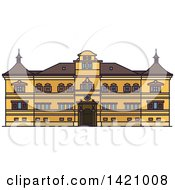 Clipart Of A Austria Landmark Hellbrunn Palace Royalty Free Vector Illustration