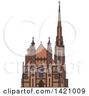 Clipart Of A Austria Landmark St Stephen Cathedral Royalty Free Vector Illustration