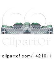 Clipart Of A Austria Landmark Belvedere Royalty Free Vector Illustration