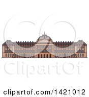 Clipart Of A Belgium Landmark Royal Palace Royalty Free Vector Illustration