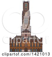 Clipart Of A Belgium Landmark Belfry Of Bruges Royalty Free Vector Illustration