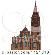 Clipart Of A Belgium Landmark Church Of Our Lady Royalty Free Vector Illustration