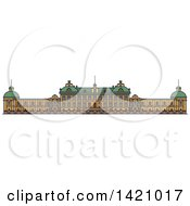 Clipart Of A Sweden Landmark Drottningholm Palace Royalty Free Vector Illustration