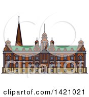 Clipart Of A Sweden Landmark Malmo Town Hall Royalty Free Vector Illustration by Vector Tradition SM