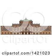 Clipart Of A Austria Landmark Burgtheater Royalty Free Vector Illustration