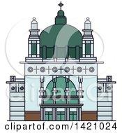 Clipart Of A Austria Landmark Kirche Am Steinhof Royalty Free Vector Illustration